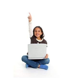 girl raising hand with laptop